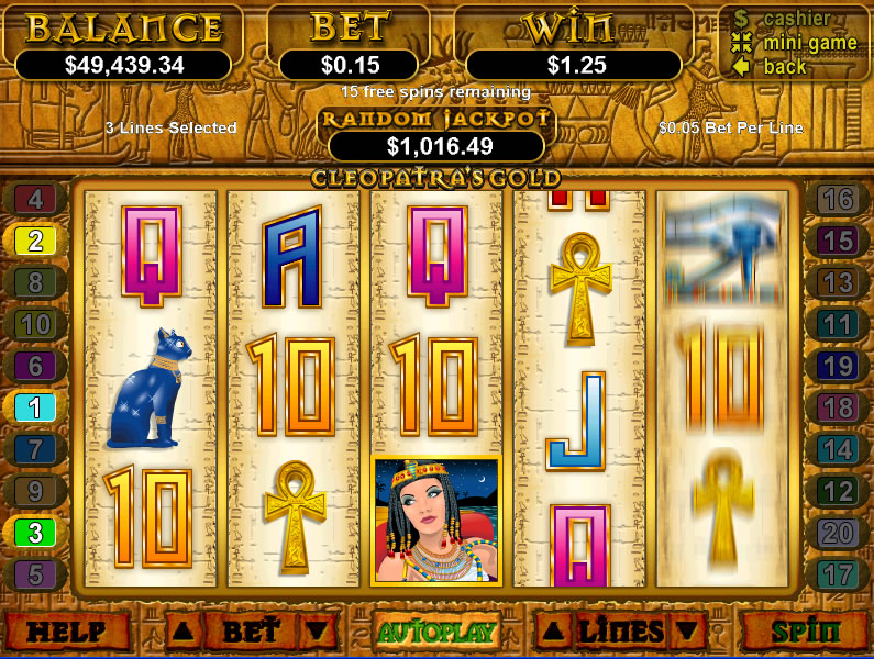 Play Cleopatra's Gold Slots at Rushmore Casino